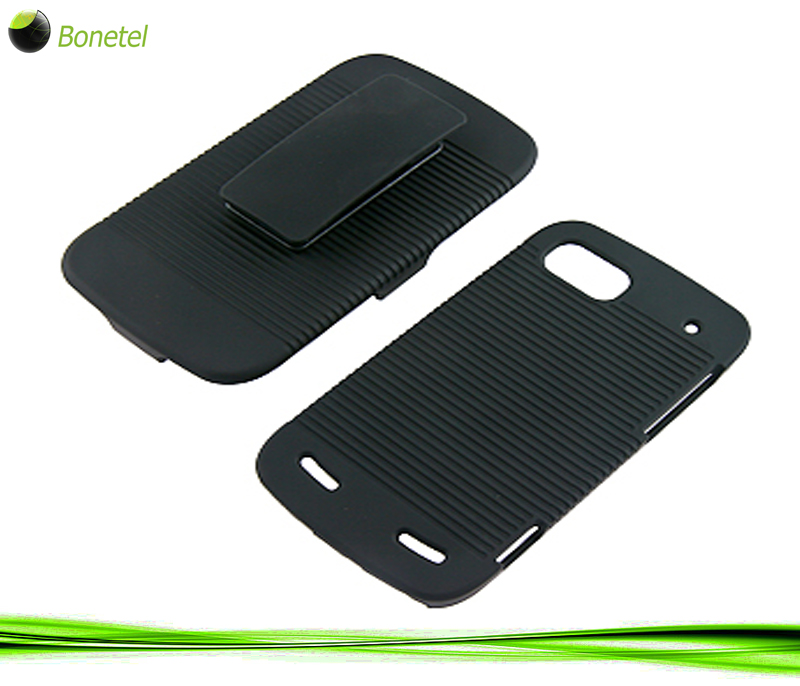 Rubberized Hard Shell Case with Holster for ZTE Warp Sequent N861, Black