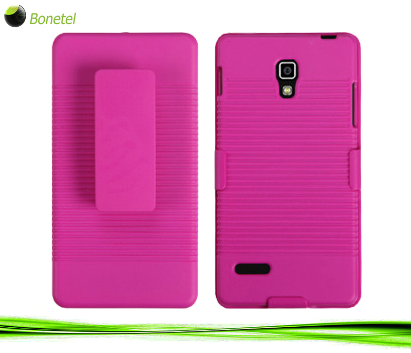 Rubberized Hot Pink Hybrid Holster (No Package) for LG P769 (Optimus L9)