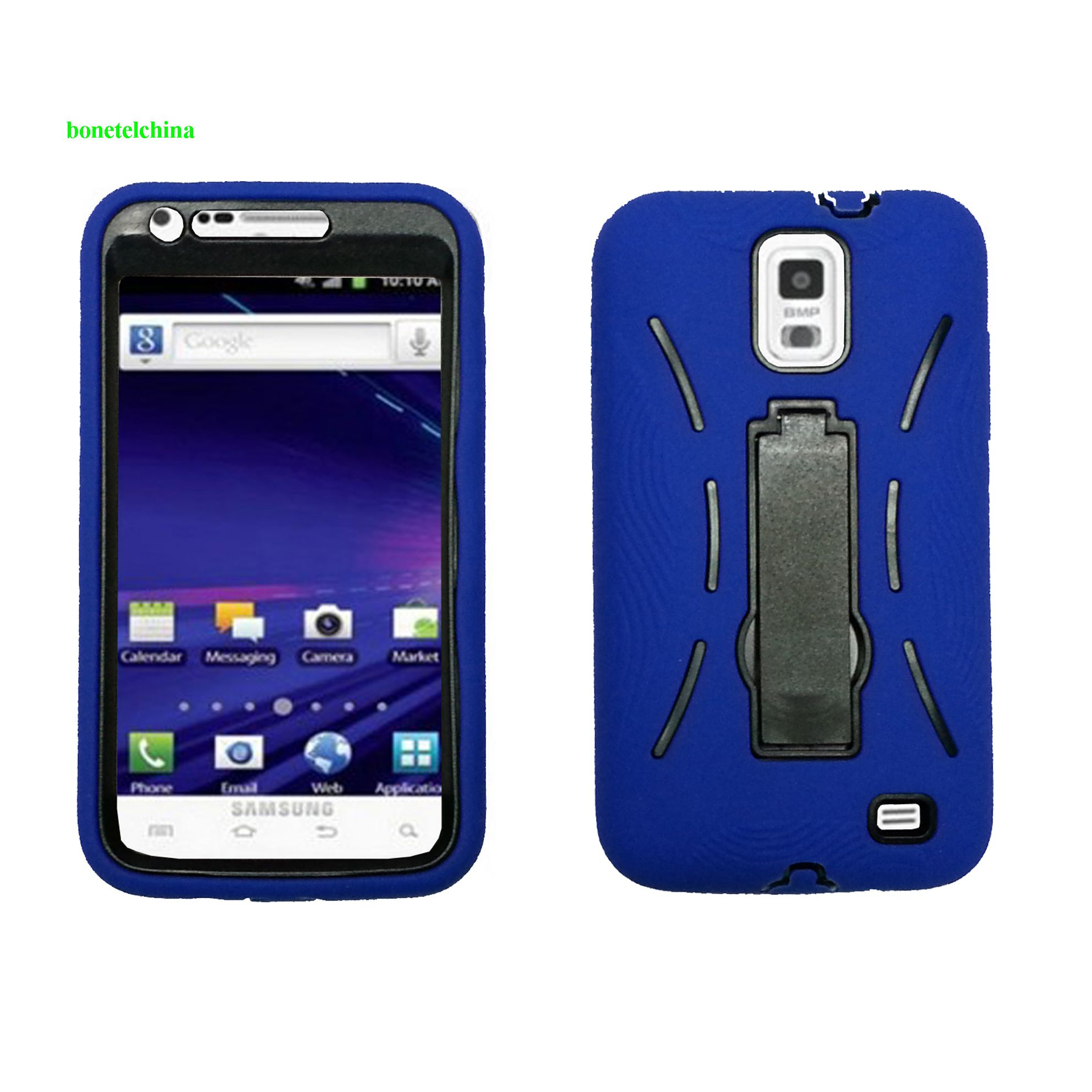 Robot defender case Silicone+PC Anti Impact Hybrid Case Kickstand shell For Samsung Galaxy SII Skyrocket I727 Blue black