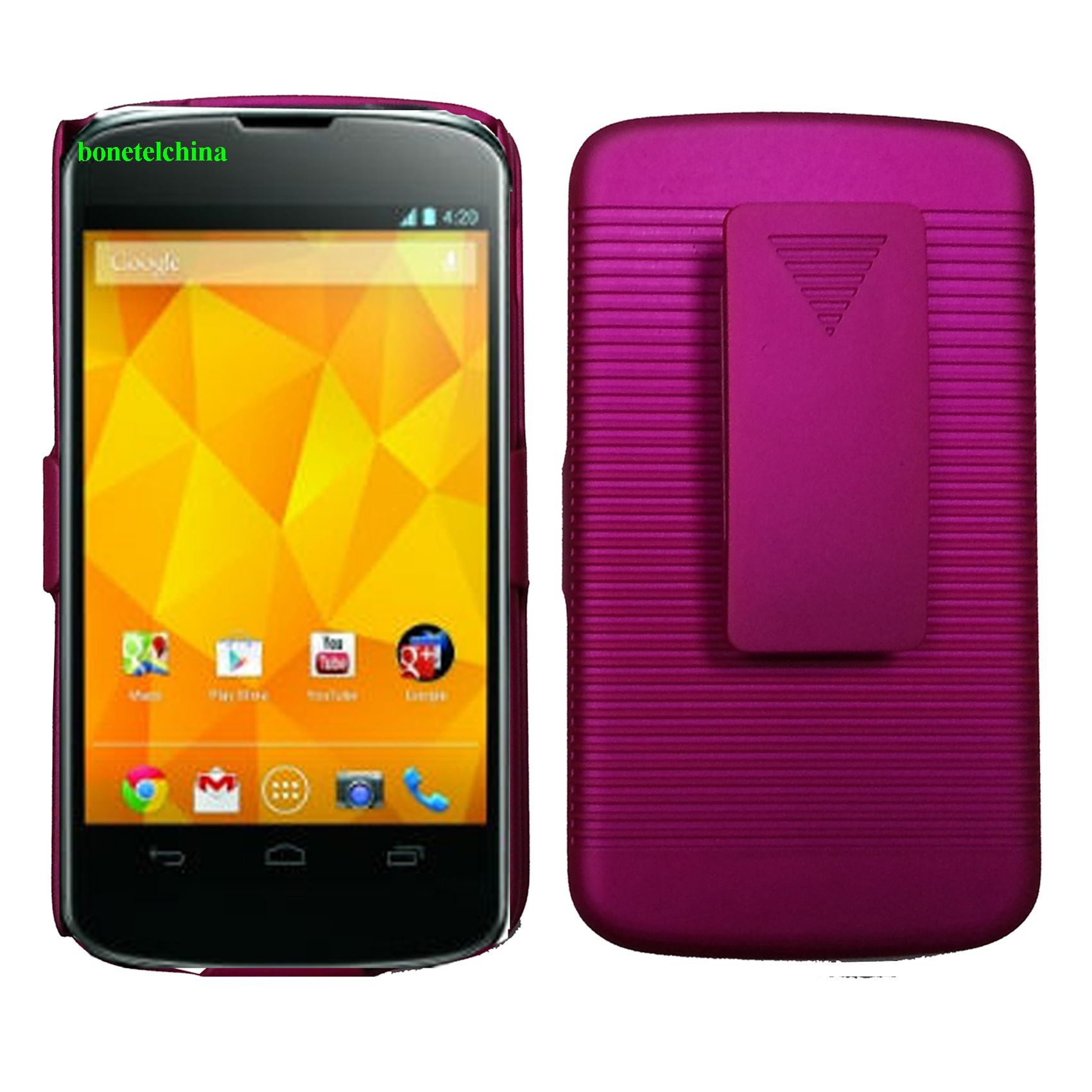 Rubberized Hard Case Holster with Stand for E960(Nexus4) Hot Pink