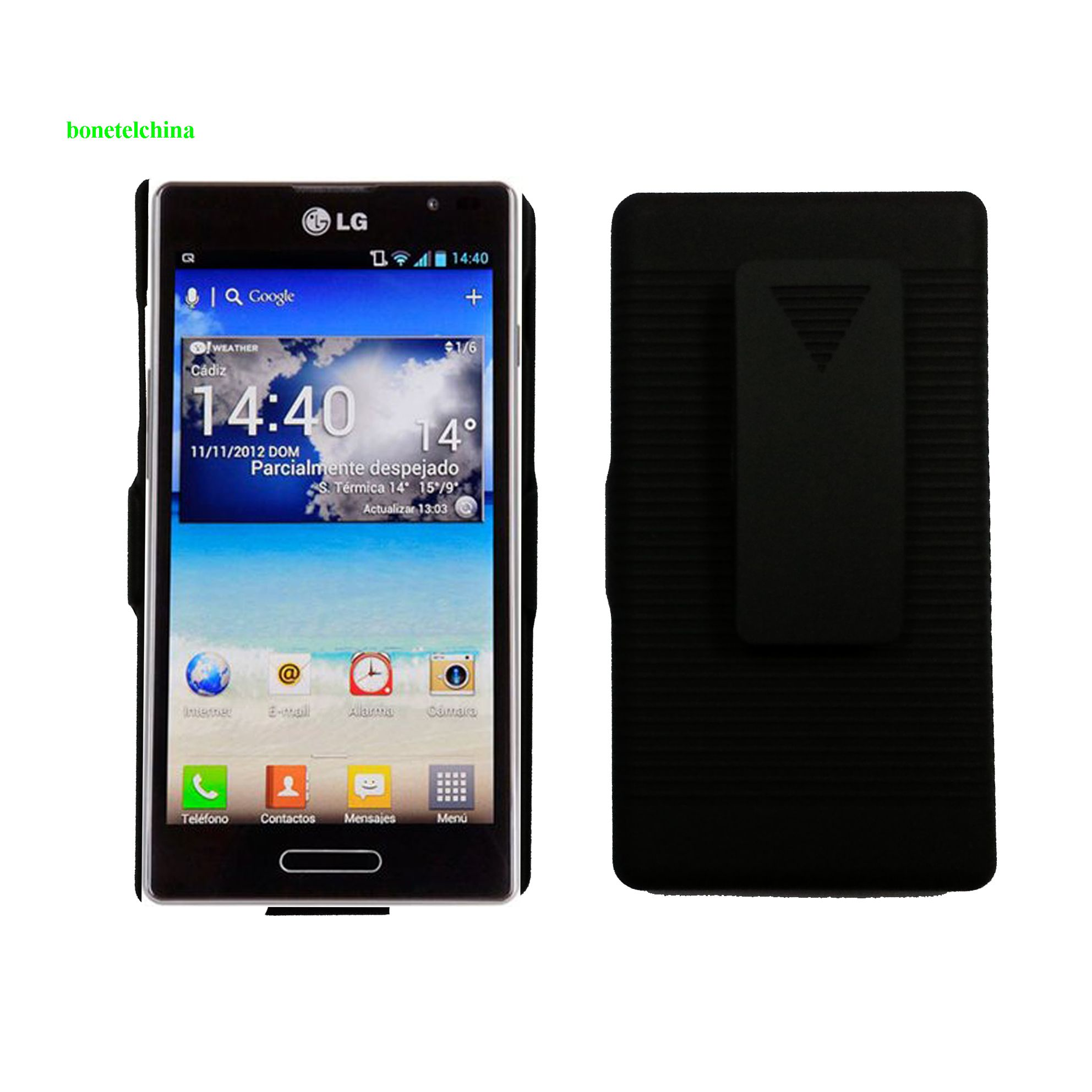 Rubberized Hard Case Holster with Stand for LG P760 Optimus L9  Black