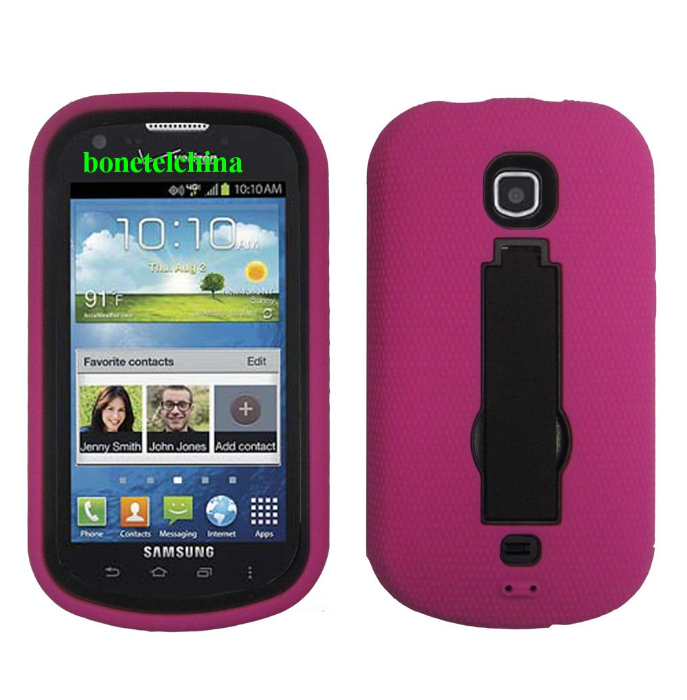 Robot Defender Case Silicone+PC Anti Impact Hybrid Case Kickstand Shell for Samsung stellar 4G I200 Pink.