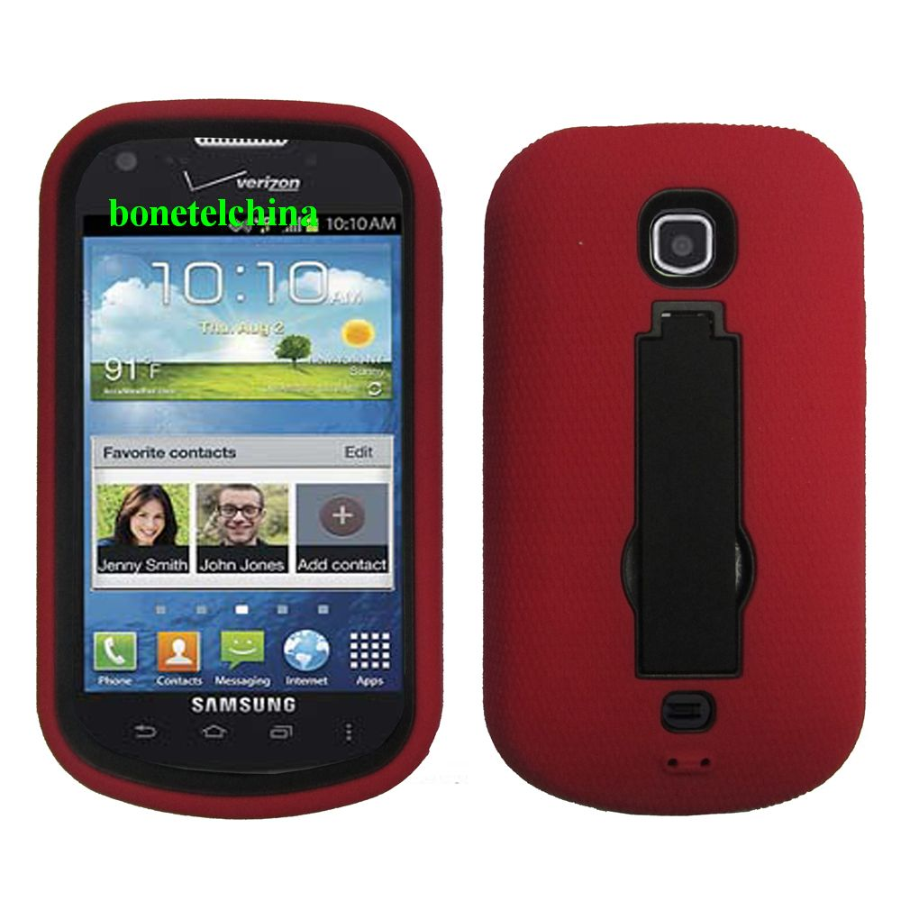 Robot Defender Case Silicone+PC Anti Impact Hybrid Case Kickstand Shell for Samsung stellar 4G I200 Red