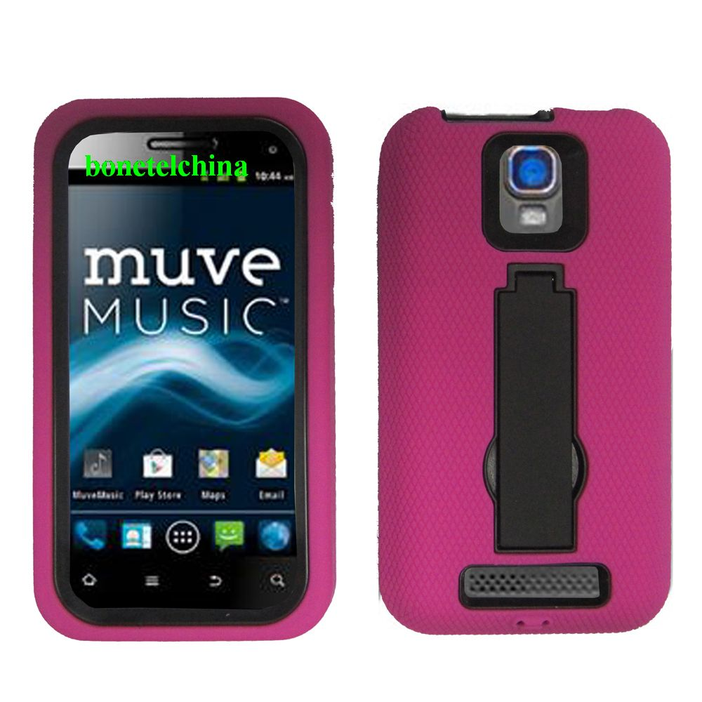 Robot Defender Case Silicone+PC Anti Impact Hybrid Case Kickstand Shell for ZTE Nova 4.0 V8000 PINK