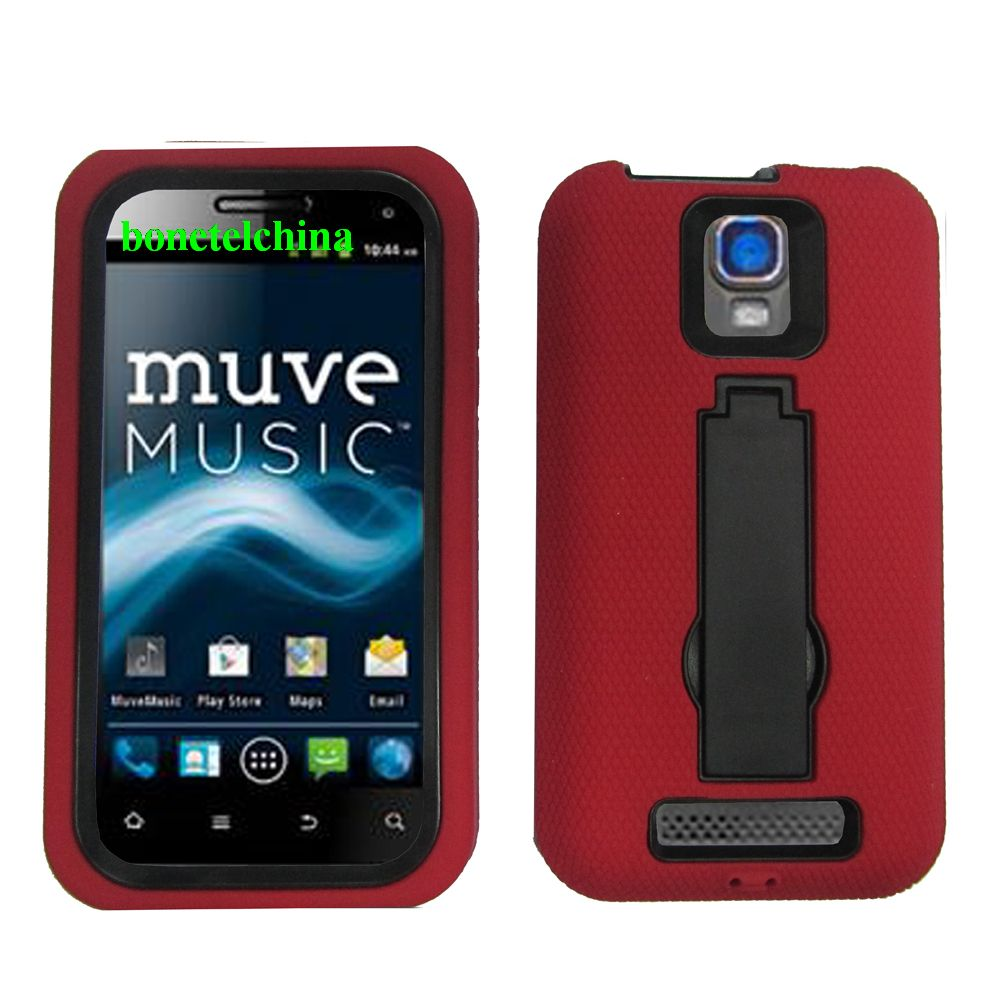 Robot Defender Case Silicone+PC Anti Impact Hybrid Case Kickstand Shell for ZTE Nova 4.0 V8000 RED