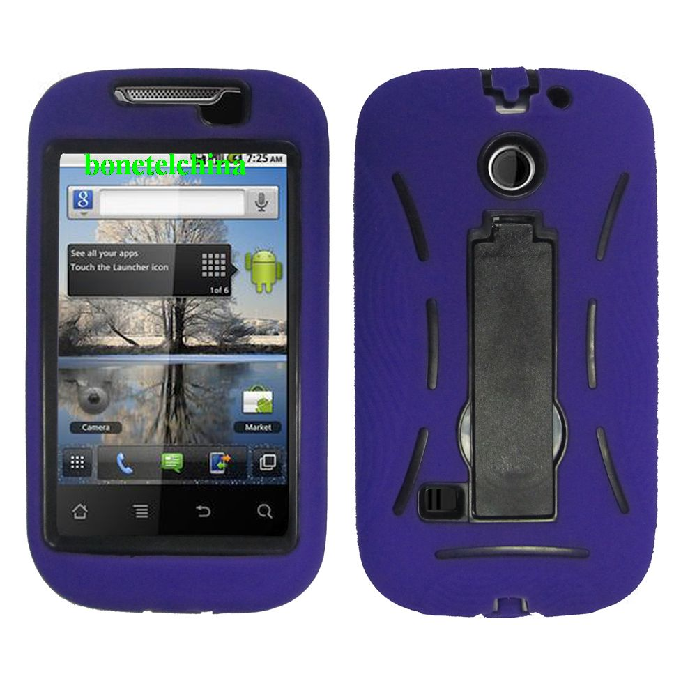 Robot Defender Case Silicone+PC Anti Impact Hybrid Case Kickstand Shell for ZTE U860 Puple.