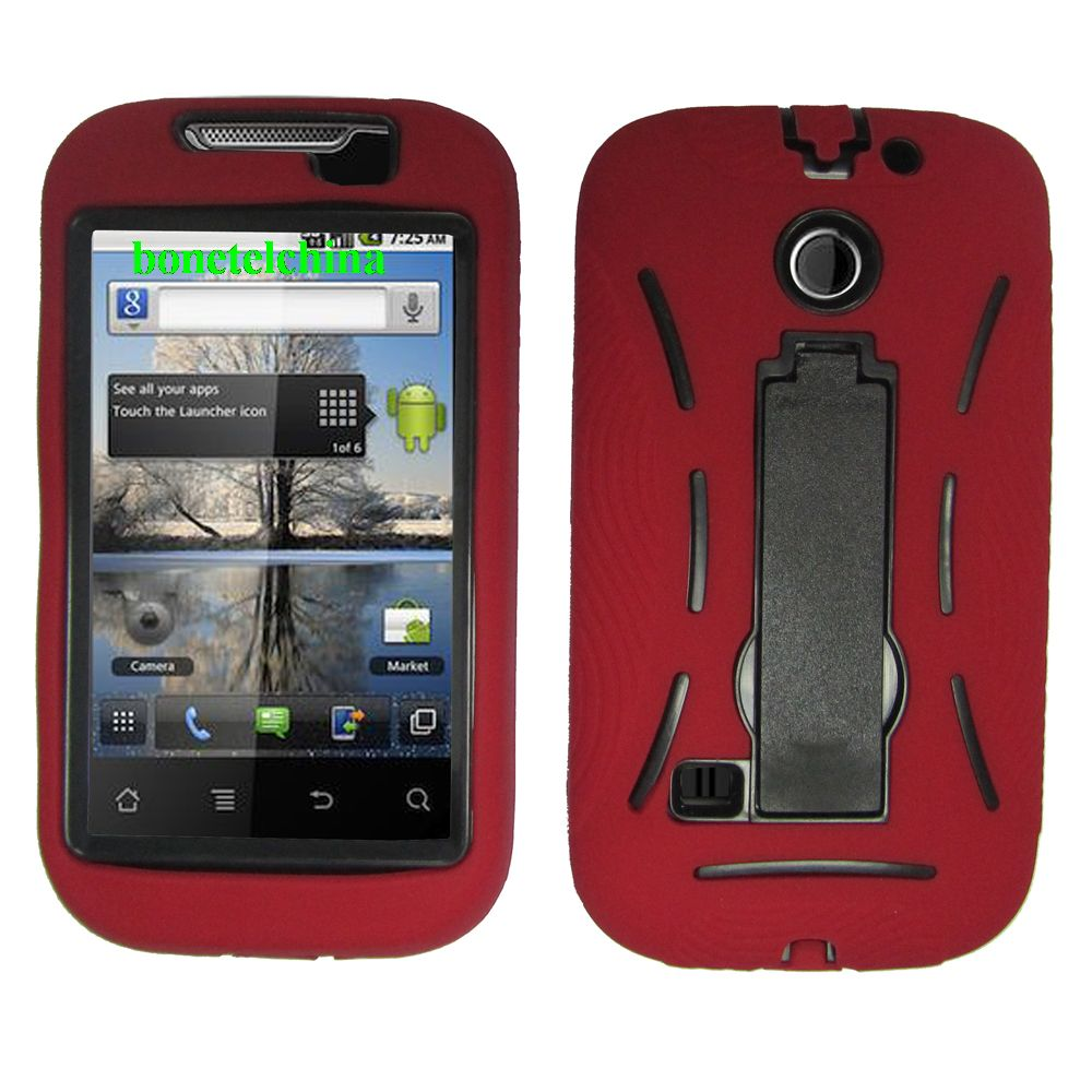 Robot Defender Case Silicone+PC Anti Impact Hybrid Case Kickstand Shell for ZTE U860 RED