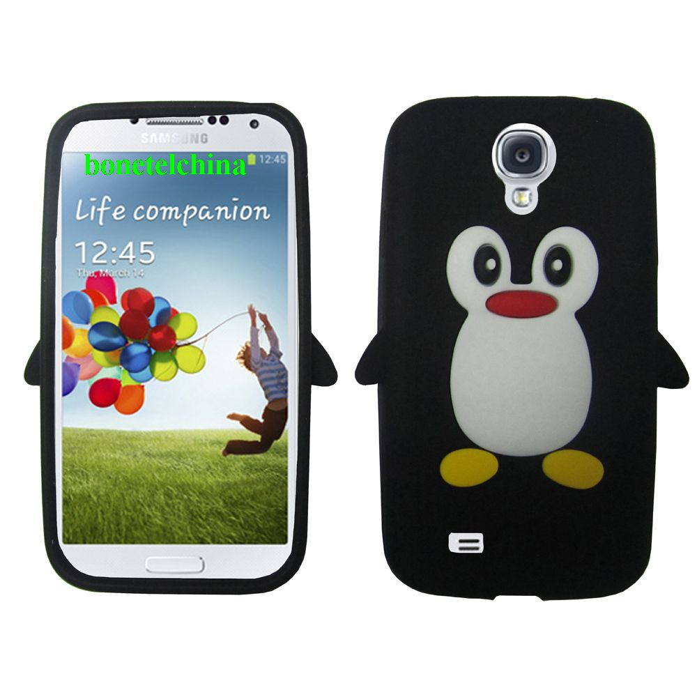 Penguin Animal Silione Cases for Samsung Galaxy S 4 IV i9500 i9505 Black