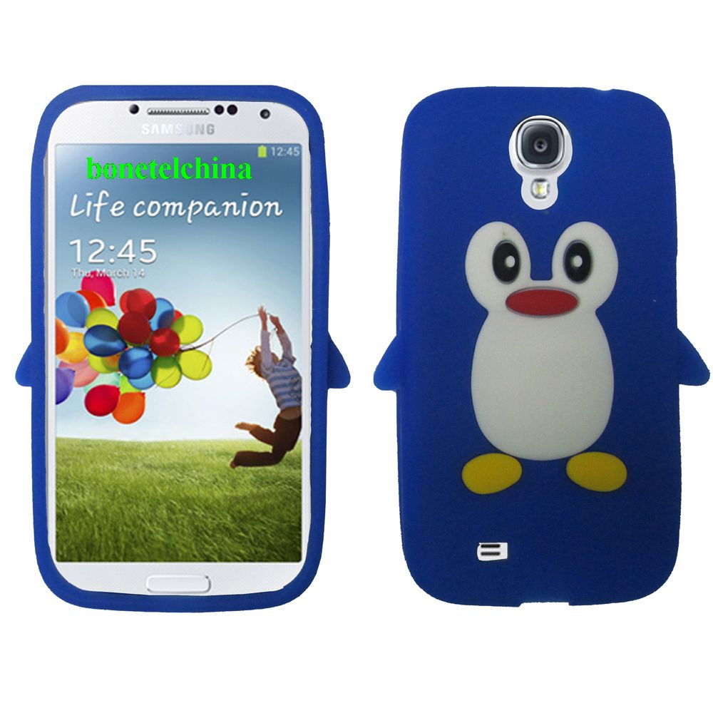 Penguin Animal Silione Cases for Samsung Galaxy S 4 IV i9500 i9505 Blue