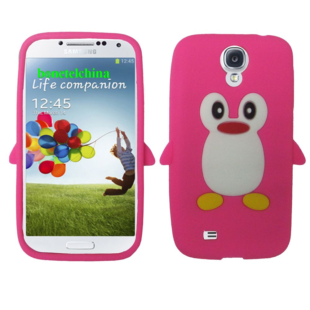 Penguin Animal Silione Cases for Samsung Galaxy S 4 IV i9500 i9505 pink