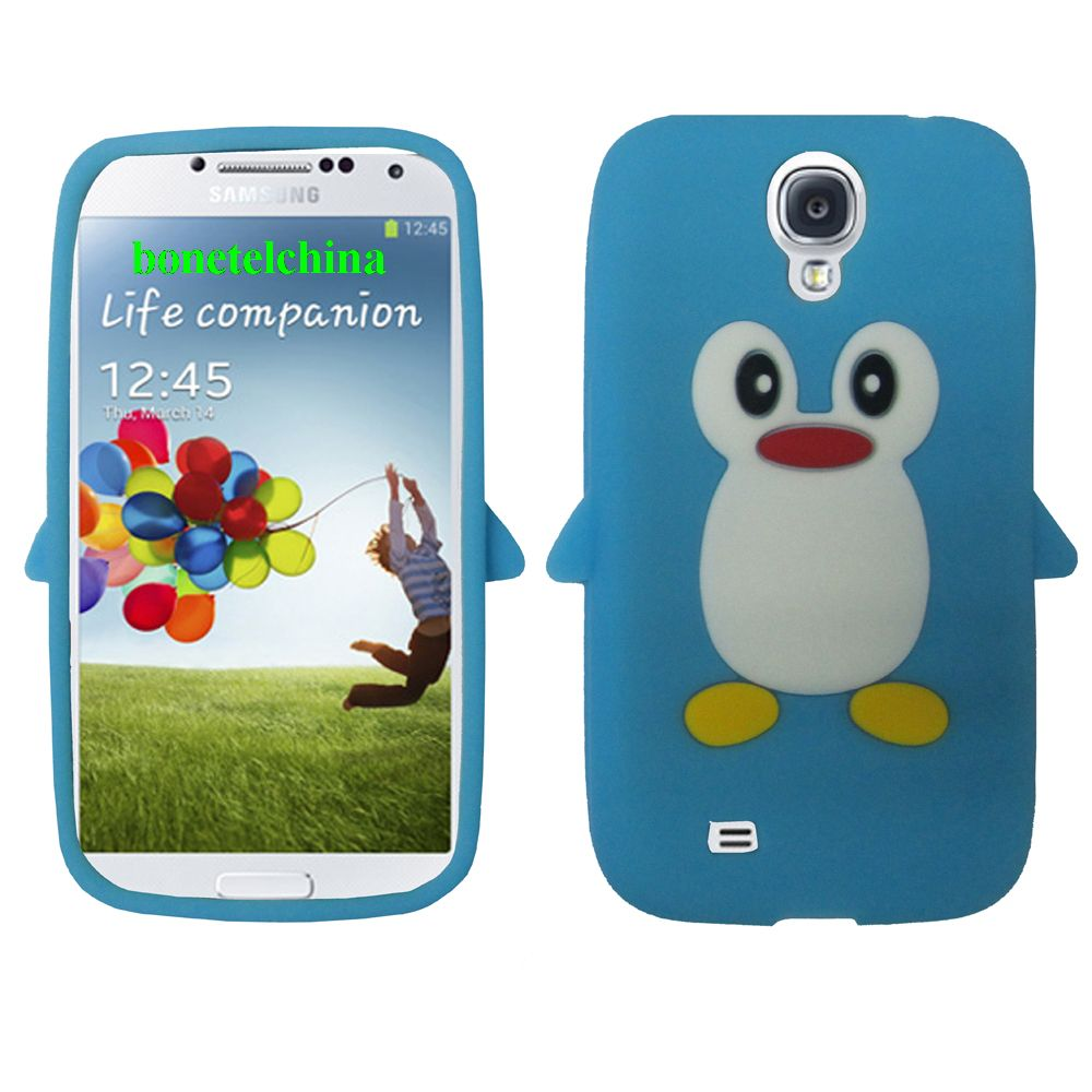 Penguin Animal Silione Cases for Samsung Galaxy S 4 IV i9500 i9505 Sky Blue