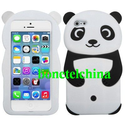 Panda Soft Silicone Case Cover for iPhone 5 C 5C Black and white
