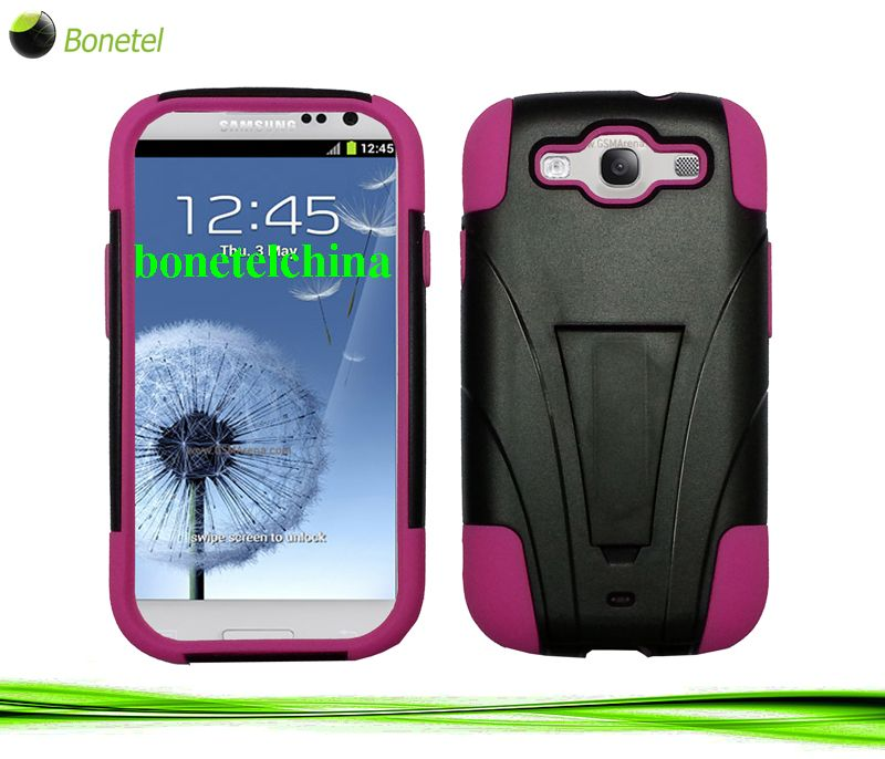 Robot defender case S3 Silicone+PC Anti Impact Hybrid Case Kickstand shell For Samsung Galaxy S3 SIII i9300 Pink black