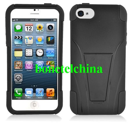 Robot Defender Case Silicone+PC Anti Impact Hybrid Case Kickstand Shell for iPhone 5 Black