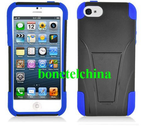 Robot Defender Case Silicone+PC Anti Impact Hybrid Case Kickstand Shell for iPhone 5 Blue Black