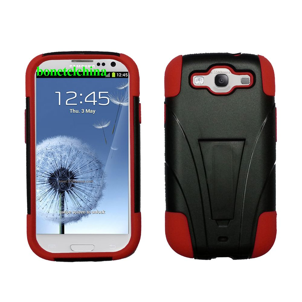 Robot defender case Silicone+PC Anti Impact Hybrid Case Kickstand shell For Samsung Galaxy S3 SIII i9300 Red Black