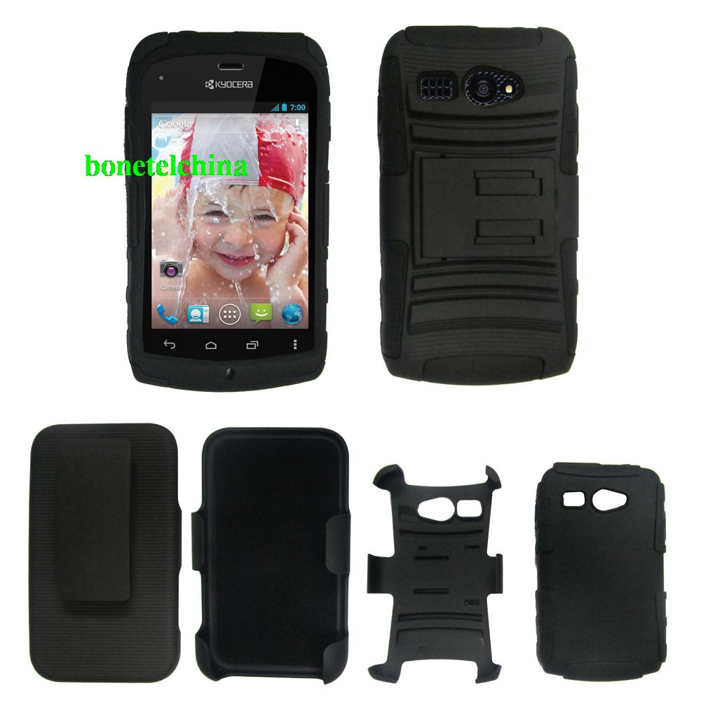 Hybrid combo Kickstand Cases with Stand for Kyocera Hydro C5170 Black
