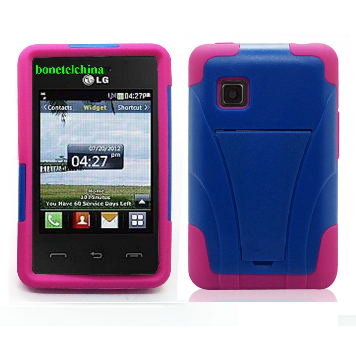 New kicktstand Hybrid combo cases cover for LG 840G Straight talk Net10 Tracfone