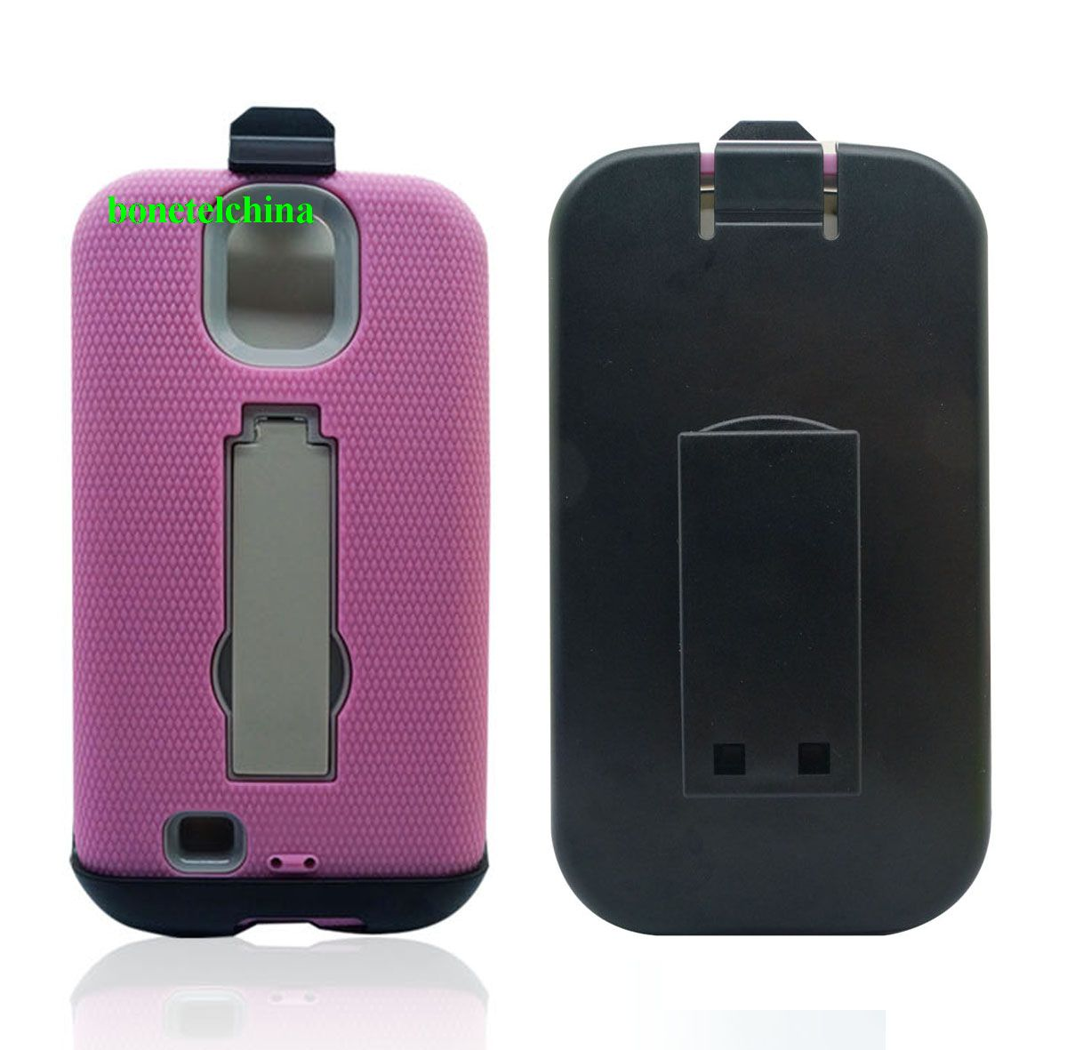 Hybrid Combo Defender Kickstand Cases For Samsung Galaxy S4  w/Clip
