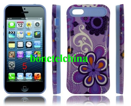iGlow Noctilucent Luminous Cases for iPhone 5 with Flower image design