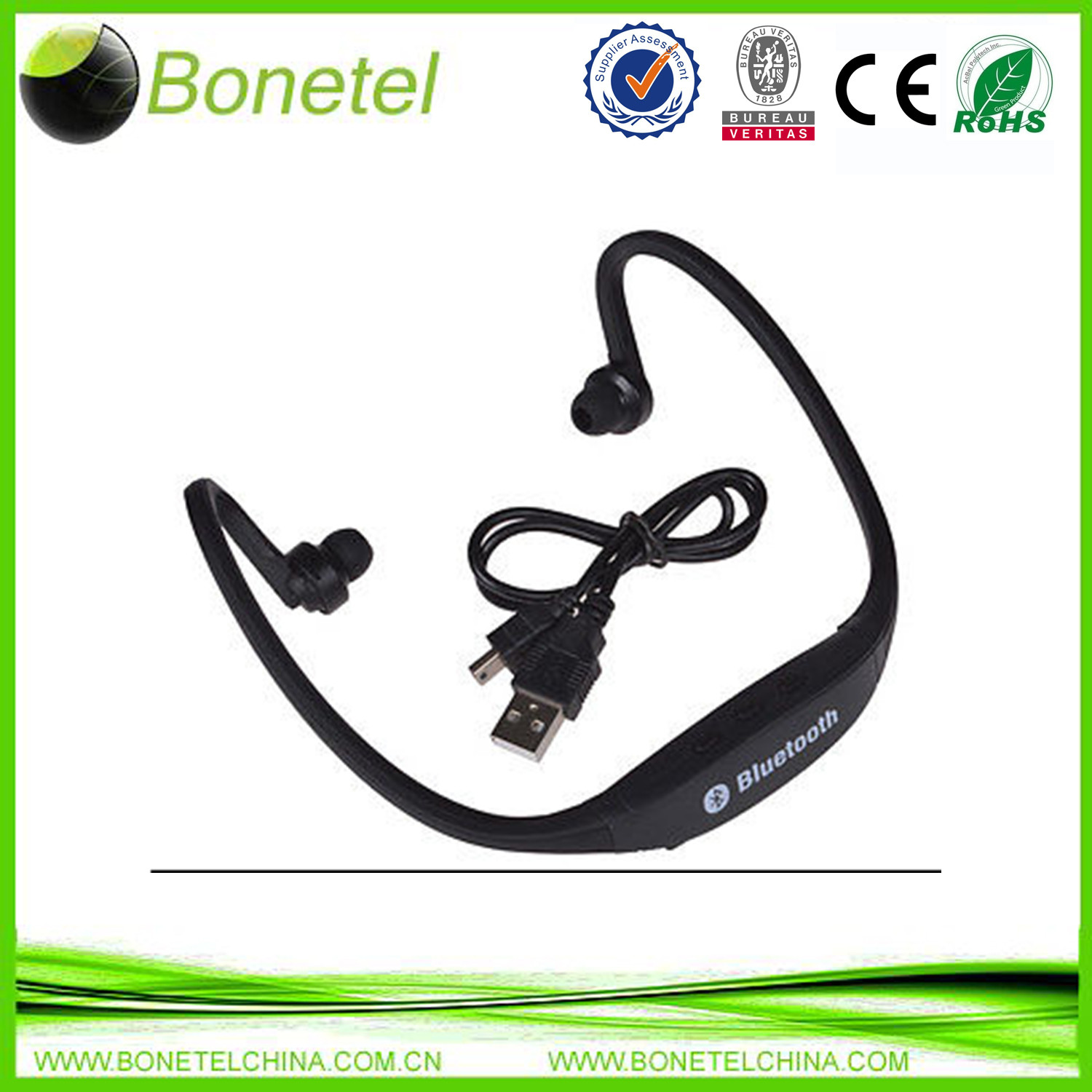Sports Stereo Wireless Bluetooth Headset Handphone Earphone for Samsung iPhone