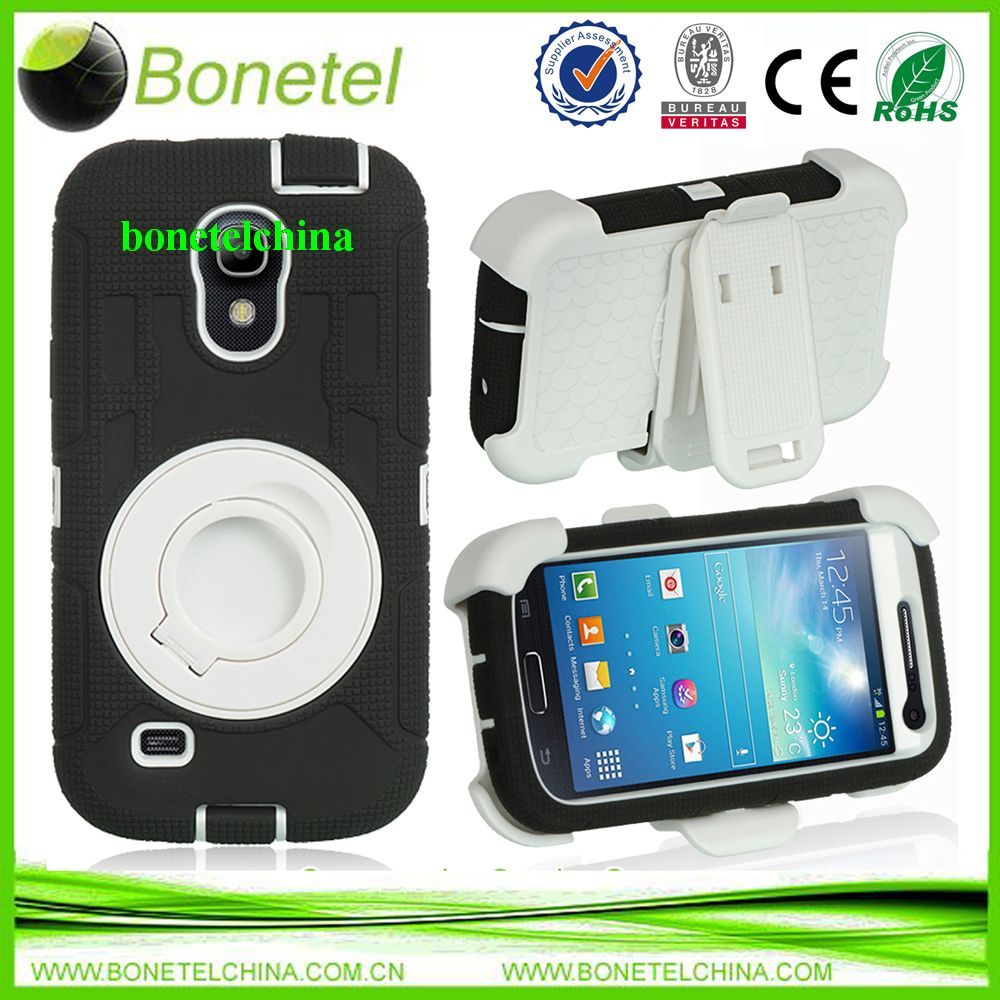 360 Rotating Ring Shakeproof Commander Combo Stand Case for Galaxy S4 mini  I9190