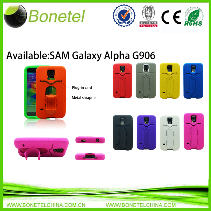 Stylish shrapnel protector case for Samsunggalaxy alpha G906 with rugged stand