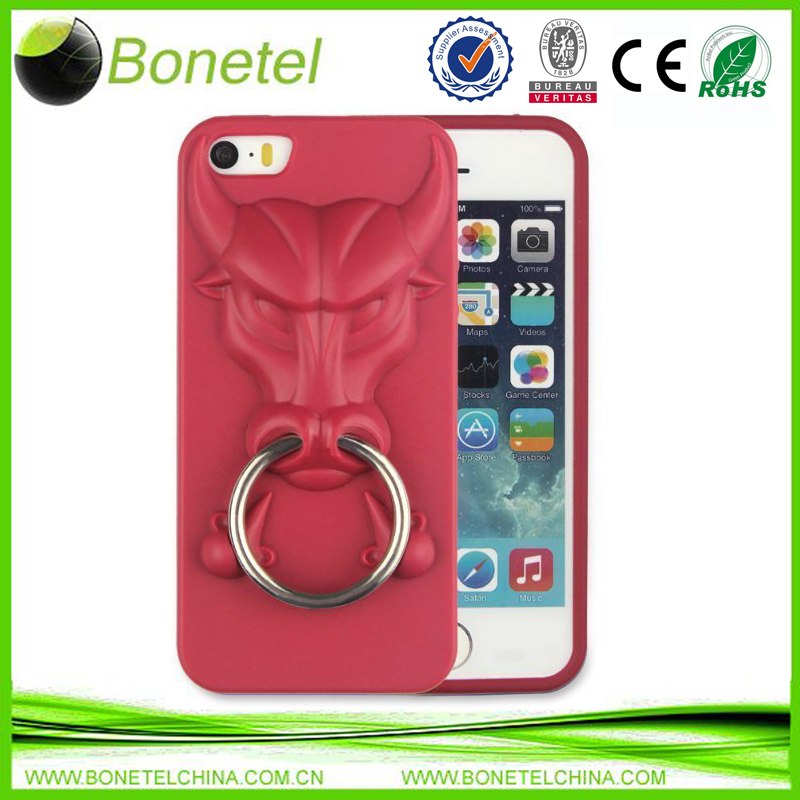 Angry Bulls TPU Cases With Ring Kickstand Cases for iPhone 5 5S Red