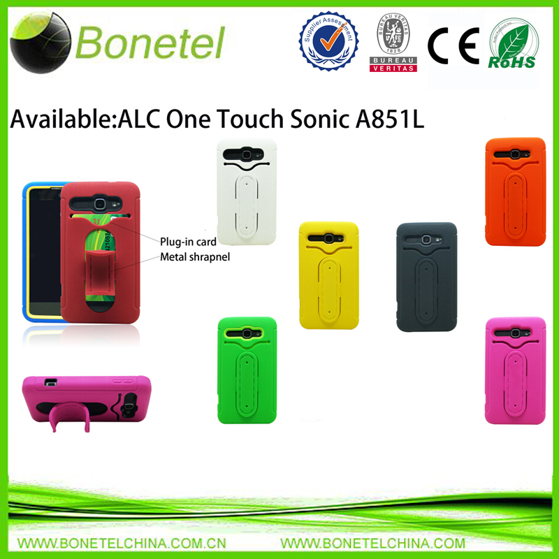 Stylish shrapnel protector case for alcatel one touch  Sonic A851L with rugged stand