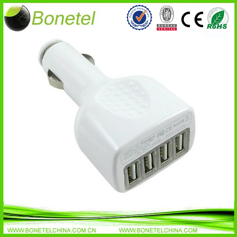 NEW 4Port USB Car Charger 2.1A Power Adapter for iPhone Galaxy Blackberry White