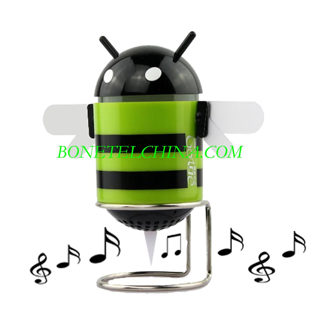 Android 3.0 Robot Bee  honeycomb Shaped USB Mini Speaker