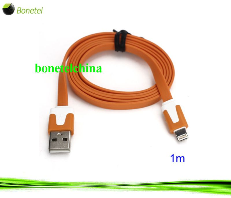 1M Two- color Noodle Flat USB Sync Data Charger Cable for iPhone 5 iPad 4 iPad Mini iPod Touch 5 Nano 7 - White Orange