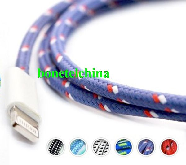 Fabric Cable USB data Cable Charger Cable for  iPhone 5