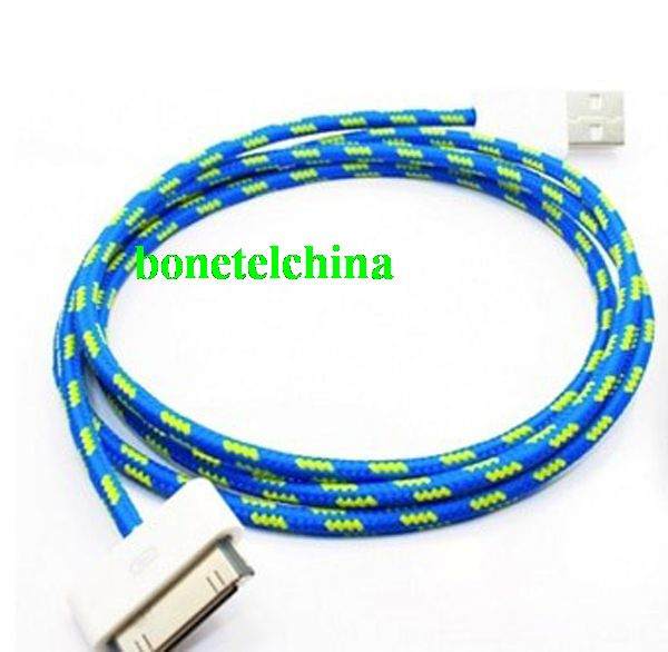 Fabric Cable USB data Cable Charger Cable for  iPhone 4