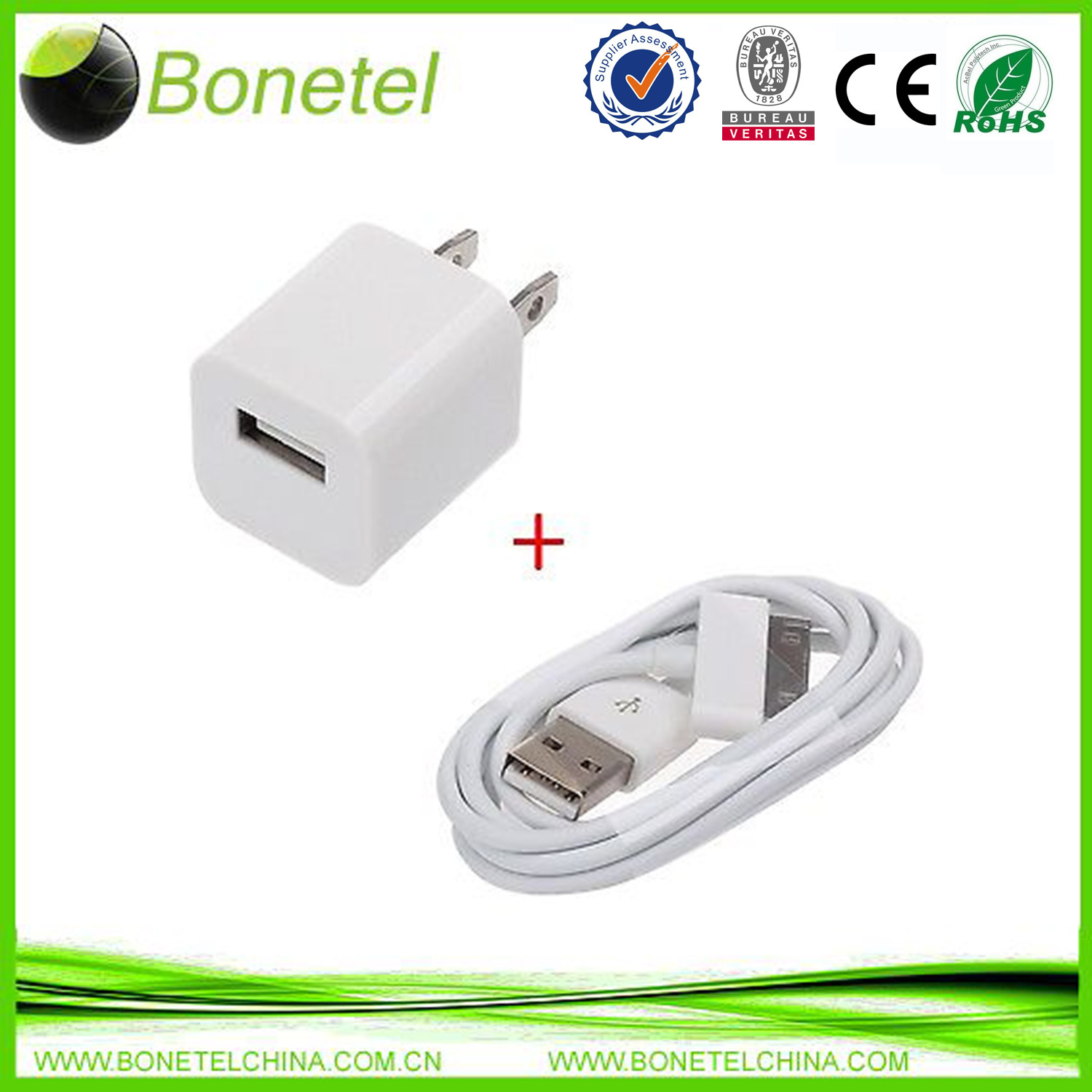 Charger Adapter+ USB Data Sync Cable for iPhone4/4S 3G iPod Touch